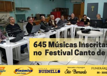 645 Músicas Inscritas no Festival Canto de Luz